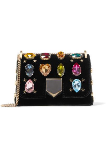 Jimmy Choo embellished bag shoulder bag black velvet