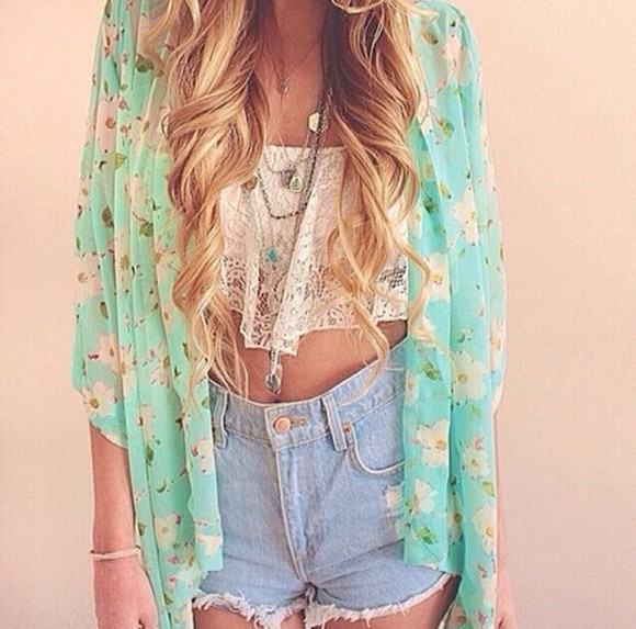pink flowers floral summer light blue jacket kimono