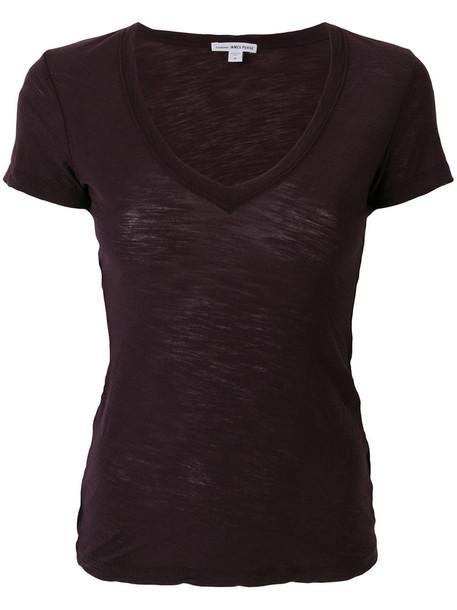 James Perse - V-neck T-shirt - women - Cotton - 0, Pink/Purple, Cotton
