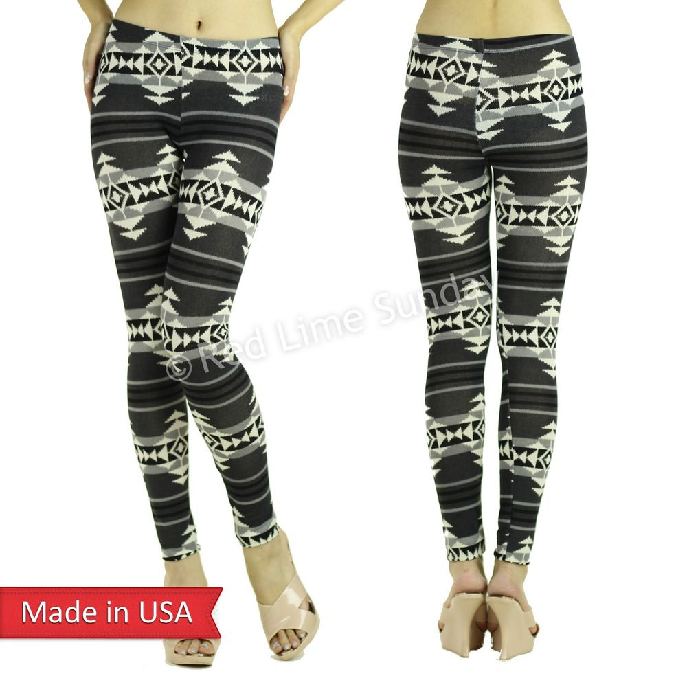 Women Cozy Gray Color Aztec Pattern Winter Knit Comfy Leggings Tights Pants USA