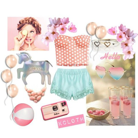 mint jewels top bag sunglasses kcloth polka dots kawaii pastel pink phone case horse statement necklace