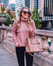 visions of vogue,blogger,sunglasses,jeans,sweater,pink sweater,pink bag