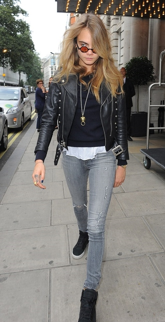 jeans jacket leather jacket cara delevingne fashion week 2014 streetstyle sunglasses embellished leather jacket