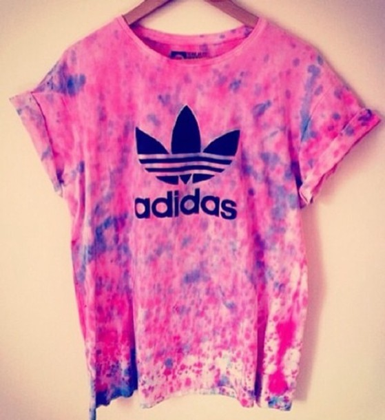 T-shirt: pink, purple, adidas, tie dye, black and pink, pink and ...