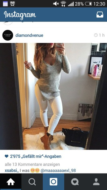 sweater knitted sweater grey sweater gray comfy casual winter coat v neck white ripped jeans timberland boots shoes pants