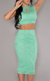 dress,lace,skirt set,mint,fashion,cute,mint dress lace
