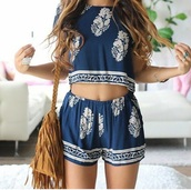 top,romper,bag,summer outfits,sunglasses,reverse clothing,gold,reverse official,round sunglasses,black,reverse,black sunglasses,round black sunglasses,hair accessory,blouse,coat,shorts,two-piece,white and blue two piece romper,jumpsuit,blue top,cute top,cardigan