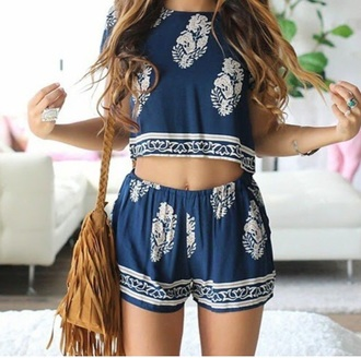top romper bag summer outfits white and blue two piece romper jumpsuit blue top cute top