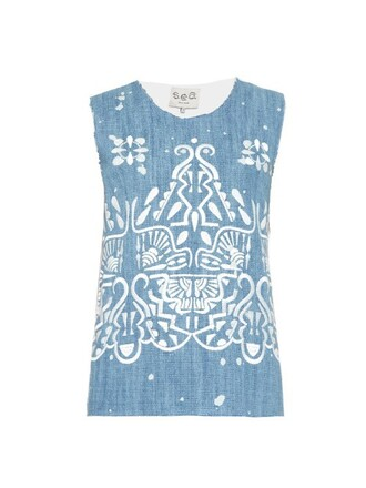 top embroidered cotton blue