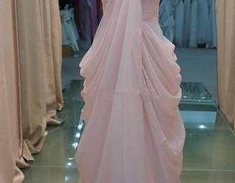 Custom made light pink chiffon floo..