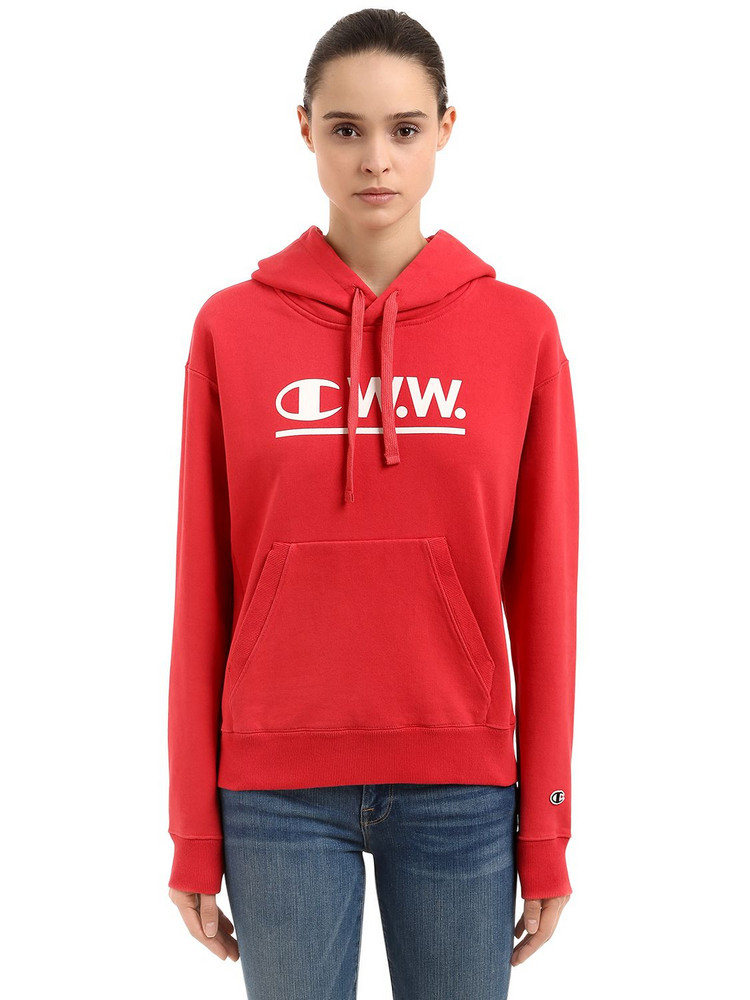 CHAMPION Wood Wood Logo Hooded Cotton Sweatshirt in red