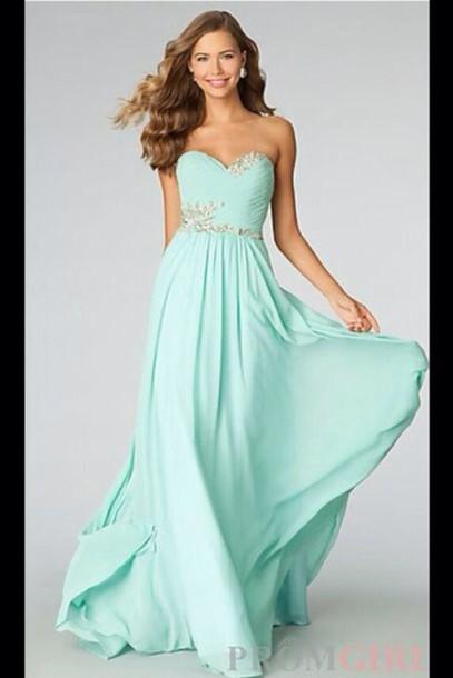dress teal prom dress long