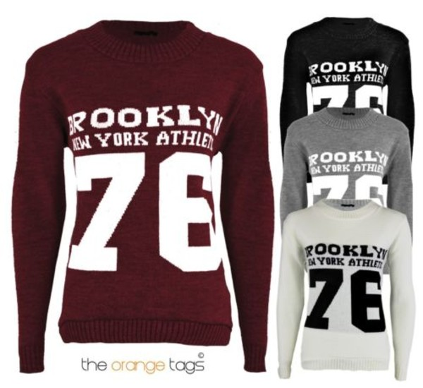 sweater ladies knitted sweater jumper knitwear brooklyn new york city print long sleeves sweatshirt top wine white black silver 76 streetstyle urban casual