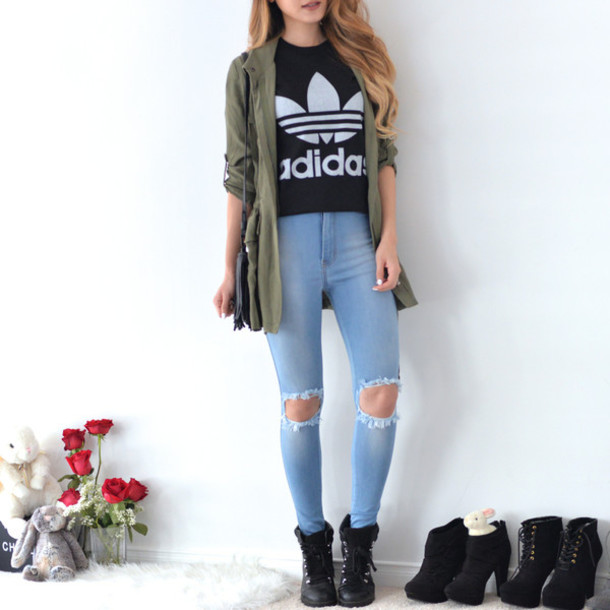 new style bcc35 63dd6 t-shirt, adidas, shirt, adidas originals, ripped jeans, boots, jeans ...