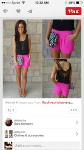 shorts,pink,neon,hot pink,top,bag,hair accessory,leggings,nail accessories,dress,girly,crochet,pinterest,shirt,pink shorts