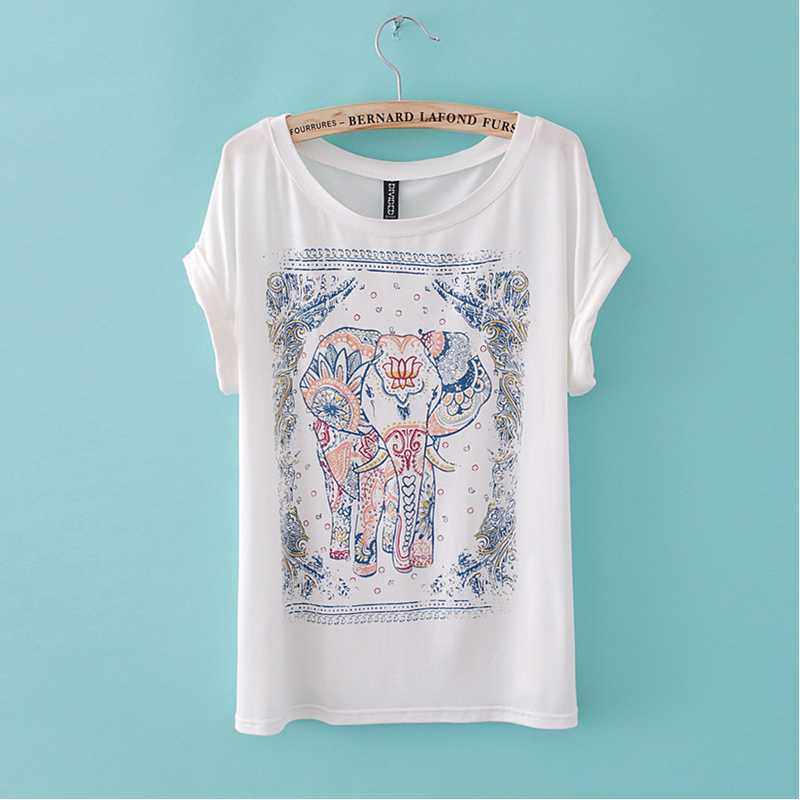 2014 Summer New Arrival Women's Western Style Elepant Print Short sleeve Cotton Shirts-in T-Shirts from Apparel & Accessories on Aliexpress.com