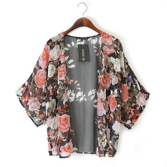 cardigan cape kimono floral blossom pattern printed summer spring sheer transparent