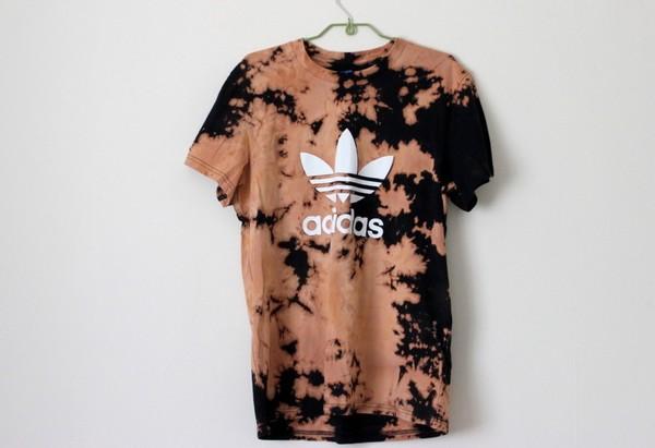 t-shirt bleached ombre bleach dye tie dye adidas