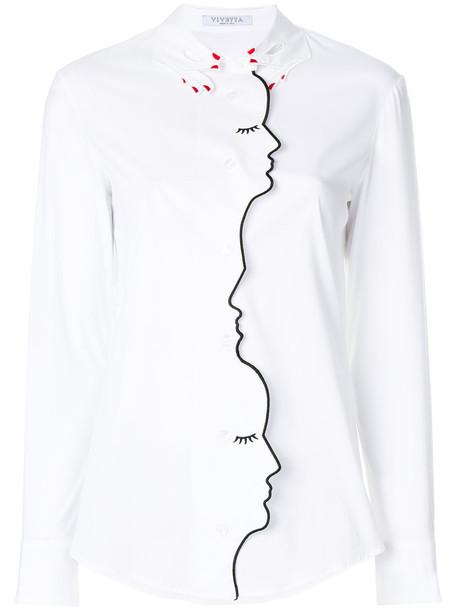 VIVETTA shirt long women spandex white cotton top