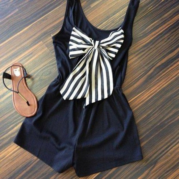 navy blue stripes romper girly bows shorts clothes dress