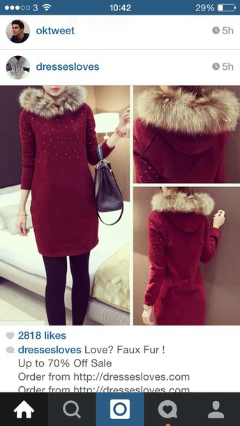 dress hoddie hooded red diamonds diamond dress fluffy fur beauiful long sleeves long sleeve dress red dress Hooded dress dress