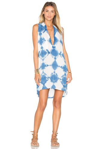 dress shift dress sleeveless blue