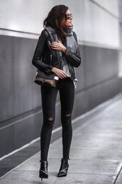 fashionedchic,blogger,scarf,bag,shoes,jacket,shirt,top,jeans,ankle boots,black jeans,skinny jeans,black jacket