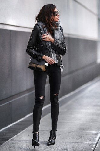 fashionedchic blogger scarf bag shoes jacket shirt top jeans ankle boots black jeans skinny jeans black jacket