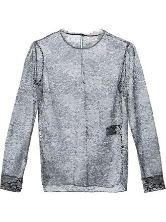 blouse sheer lace metallic top