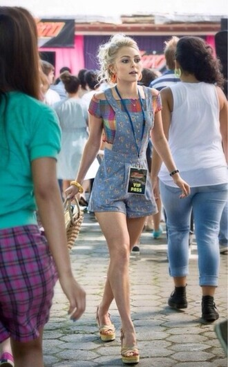 shorts the carrie diaries carrie bradshaw jumpsuit crop tops shirt annasophia robb overalls carrie season 2 romper