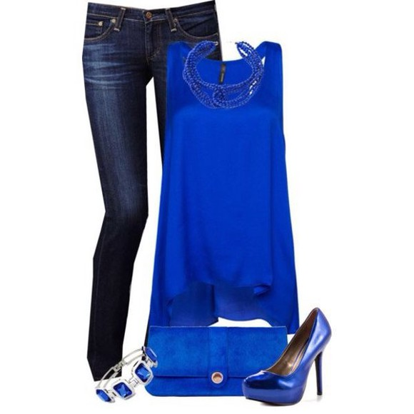 tank top racerback blouse asymmetrical top blue