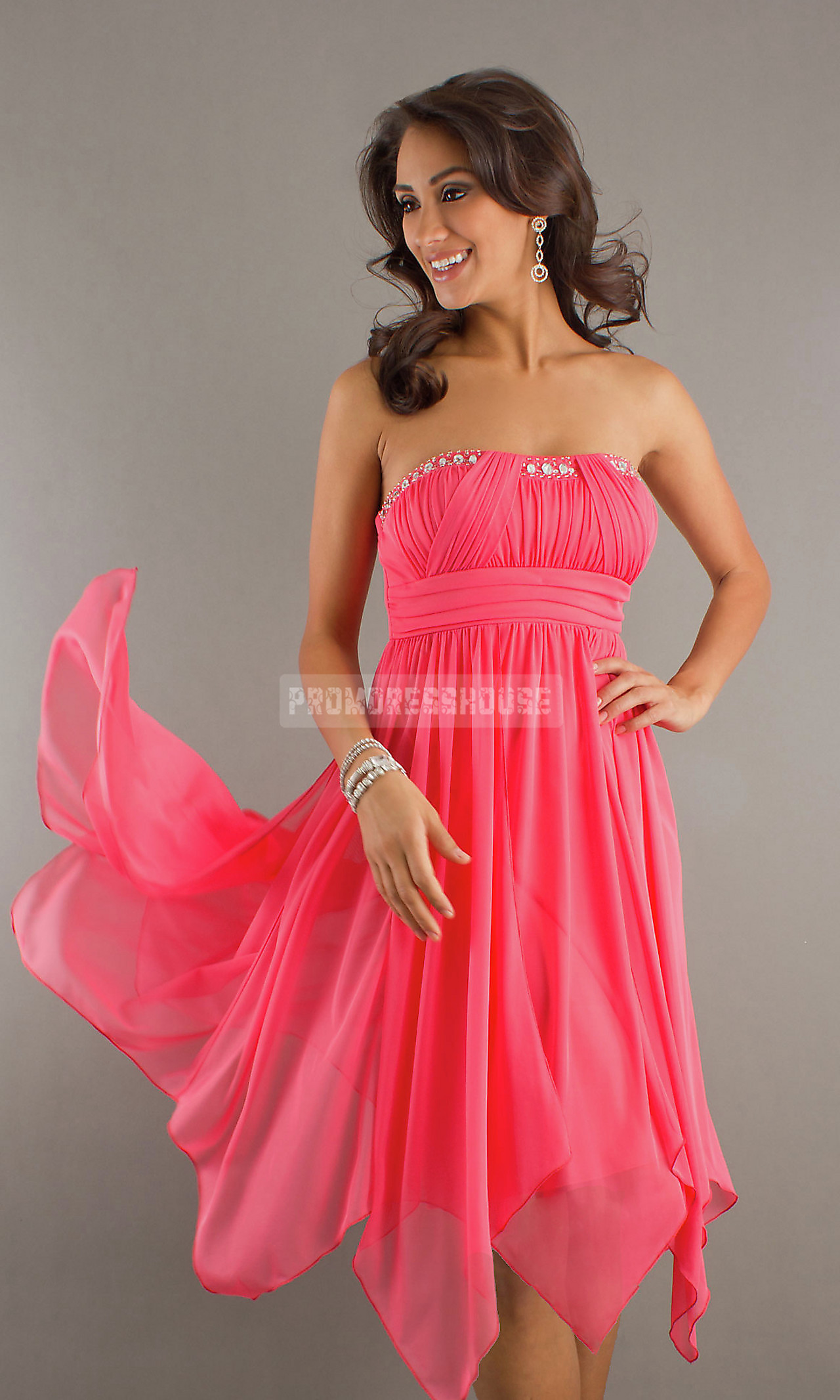 Empire Pleats Beading Watermelon A-line Prom Dress - Promdresshouse.com
