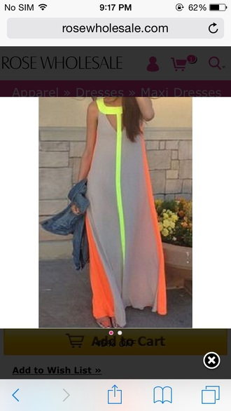 neon maxi dress dress grey dress neon yellow cut-out cut-out dress orange summer dress formal dress