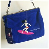 bag,artistic embroidery shoulder bag,surf,blue,shoulder,it girl shop,aesthetic