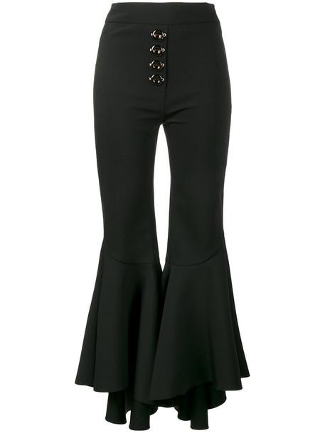 ellery cropped women spandex cotton black wool pants