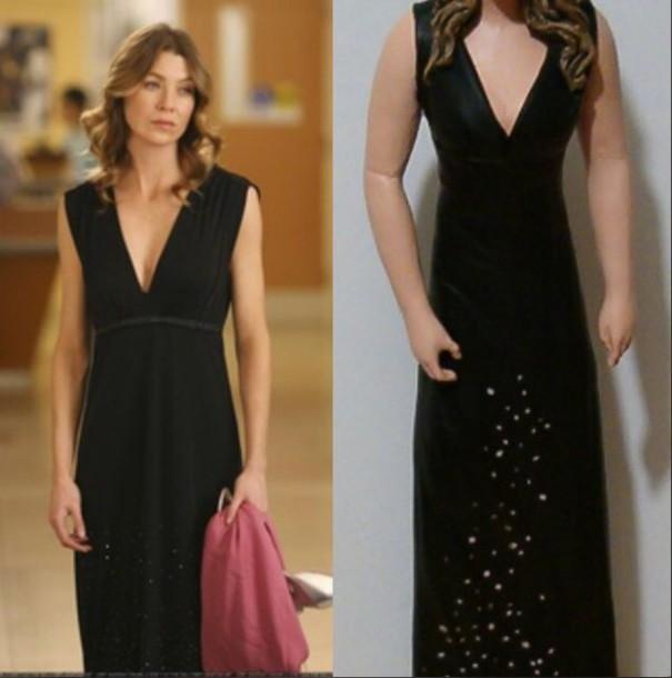 dress ellen pompeo meredith grey prom black dress black dress with silver sparkles