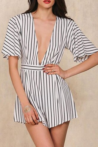 romper black and white stripes fashion style trendy hot cute