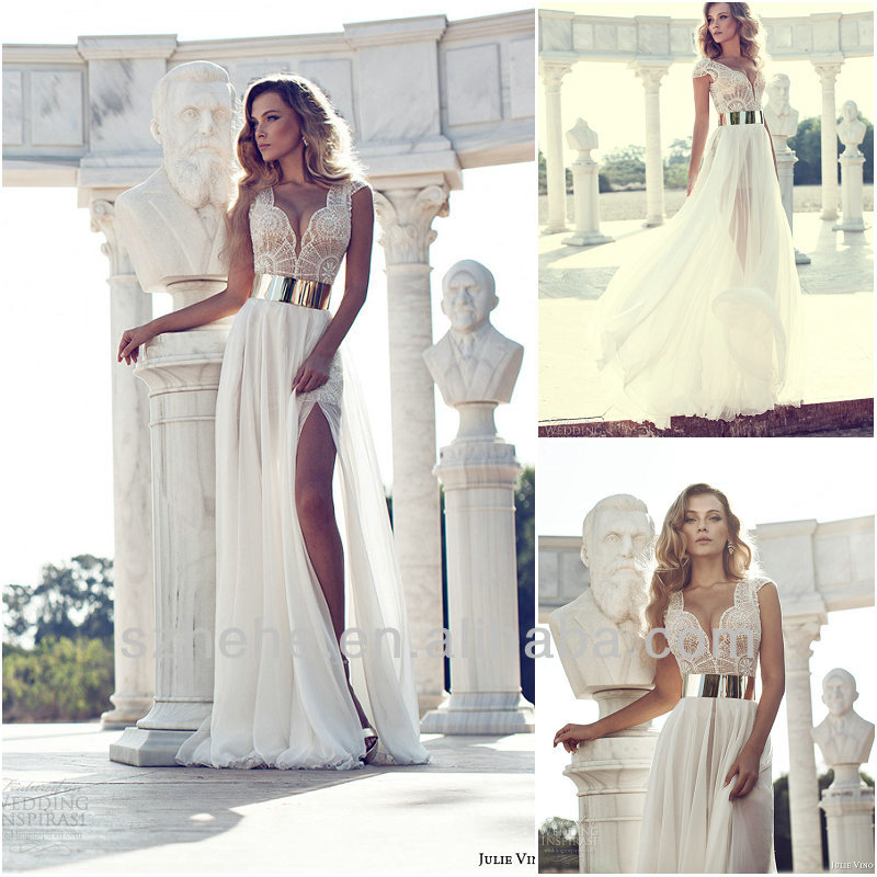 JM.Bridals Free Shipping!!! CY1579 Sexy Cap sleeves Chiffon Slit wedding dress 2014 a line-in Wedding Dresses from Apparel & Accessories on Aliexpress.com