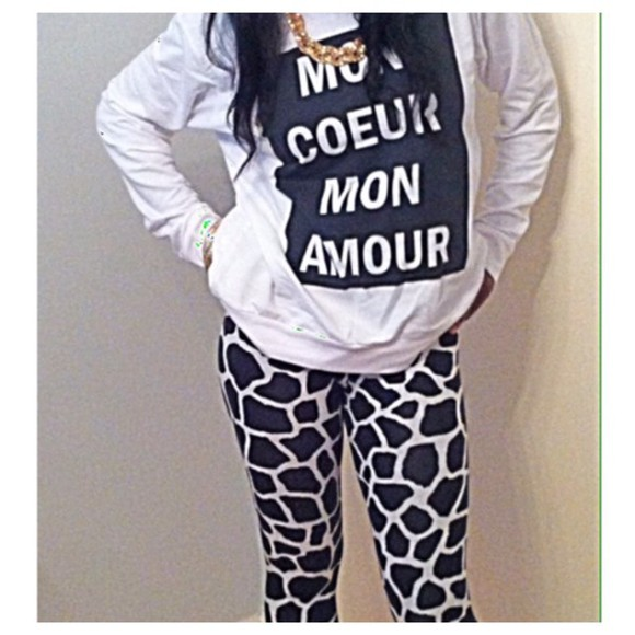 leggings printed leggings print fashion monochrome black and white stylish fashion photography sweater jumper style fashionista photography