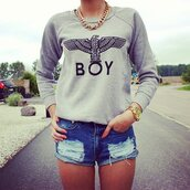 blouse,grey,boy,grunge,hipster,fashion,eagle,hoodie,sweater,boy london