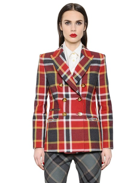 jacket wool jacket plaid cotton wool red