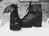 shoes,bat,black,goth,beautiful,wings,wedges