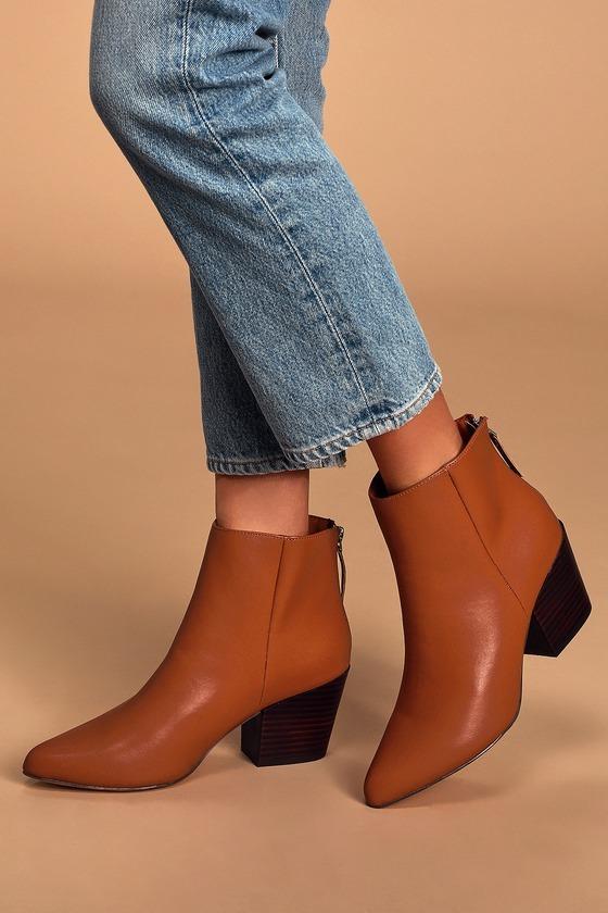 Brya Cognac Pointed-Toe Ankle Booties