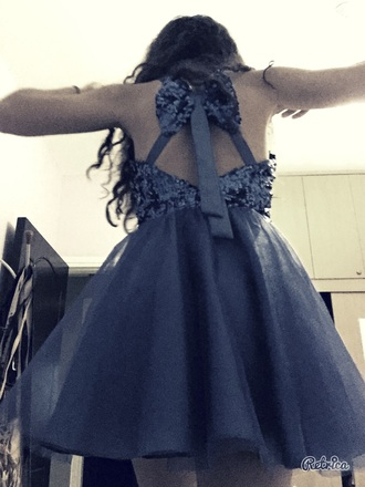 dress blue dress bow back dress