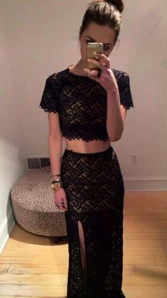 dress lace dress black dress two-piece