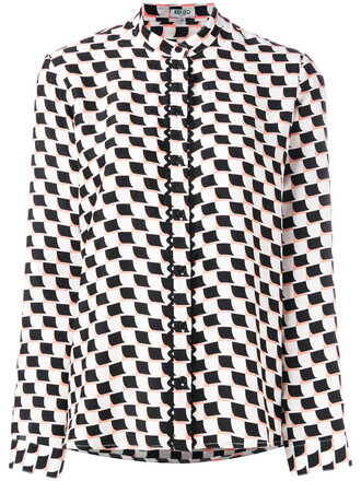 shirt women geometric white print silk top