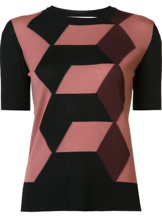 blouse geometric pattern black top