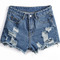 Blue pockets ripped fringe denim shorts - sheinside.com
