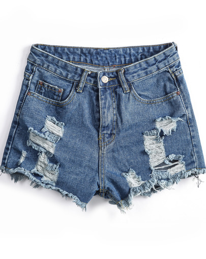 Blue pockets ripped fringe denim shorts
