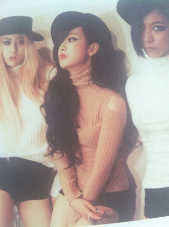 fx kpop beige sweater long sleeved sweater beige turtleneck no shoulder sweater turtleneck sweater